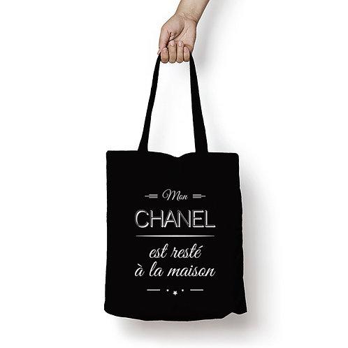 Tite bag noir Mon chanele est resté à la maison, tote bag humour, luz et nina