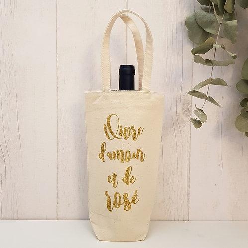 """Porte-bouteille en coton """"Vivre d'amour et de rosé"""""""