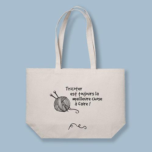 """Tote Bag XL The Big Bag """"Tricoter est toujours la meilleur chose à faire"""" - by Luz et Nina"""