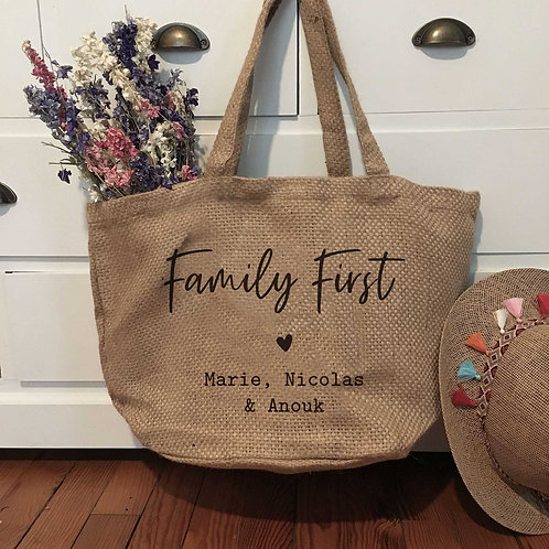 "LILY - Cabas en toile de jute souple ""Family First"""