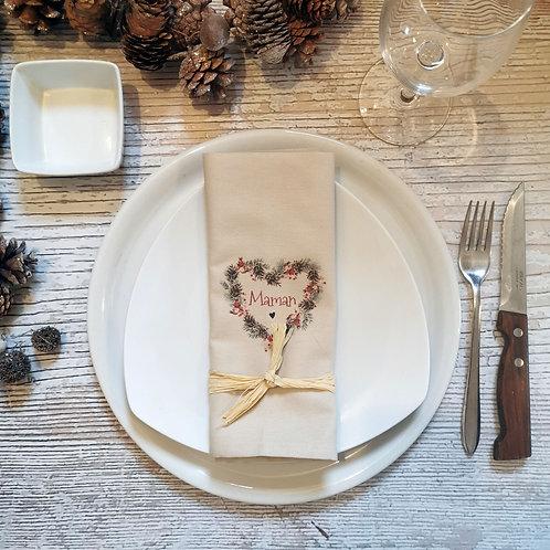 Serviette de table décoration table noël personnalisé