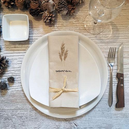Serviette de table personnalisé prénom herbe de la pampa
