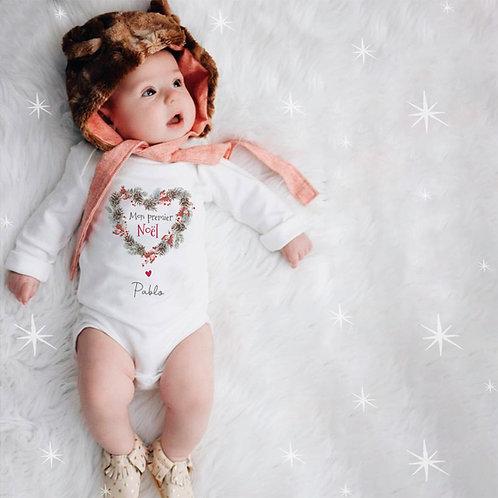"""Body bébé personnalisé """"Mon premier noël"""" + prénom"""