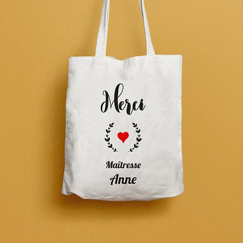 tote bag merci maîtresse, cadeau maîtresse, cadeau nounou, cadeau atsem, sac personnalisé, luz et nina