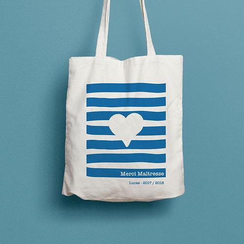 tote bag marinière, tote bag presonnalisé, cadeau personnalisé, luz et nina