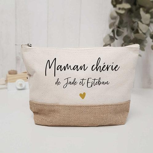Trousse de toilette, trousse de maquillage en coton jute personnalisée, cadeau fête des mères