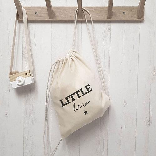 """Petit sac à dos en coton BIO """"Little hero"""""""