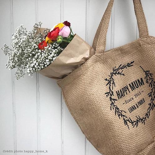 cabas toile de jute happy mum, sac de plage, sac personnalisé, sac luz et nina