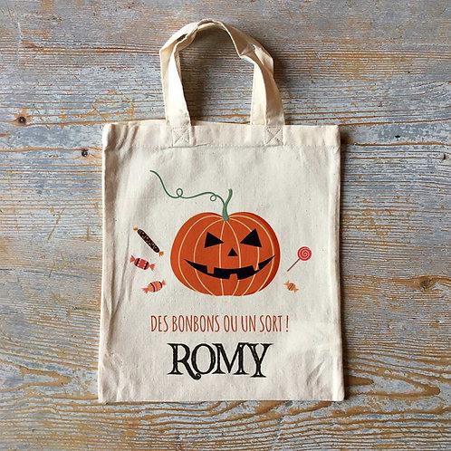 Petit sac d'halloween personnalisé