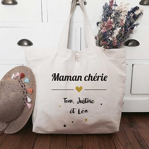 sac cabs de plage personnalisé super mamie super maman coton bio