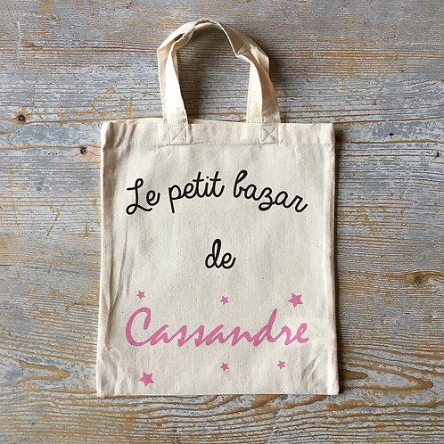 Mini tote bag personnalisé, le petit bazar, Luz et Nina