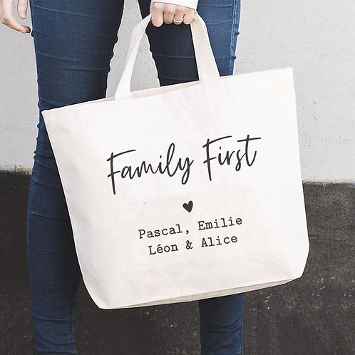 """THE BIG BAG, tote bag XL - """"Family First"""""""