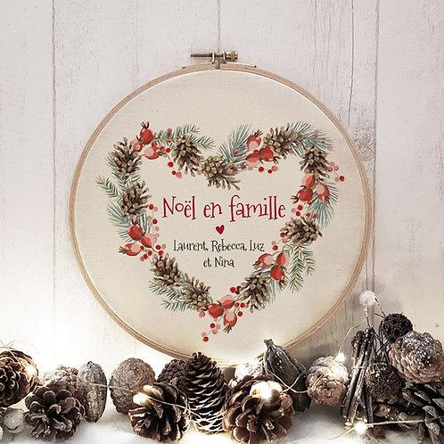 Cadre tambour bois Noël personnalisé