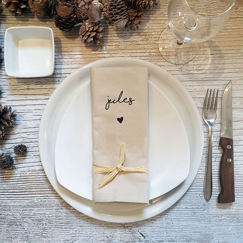 Serviette de table personnalisé prénom