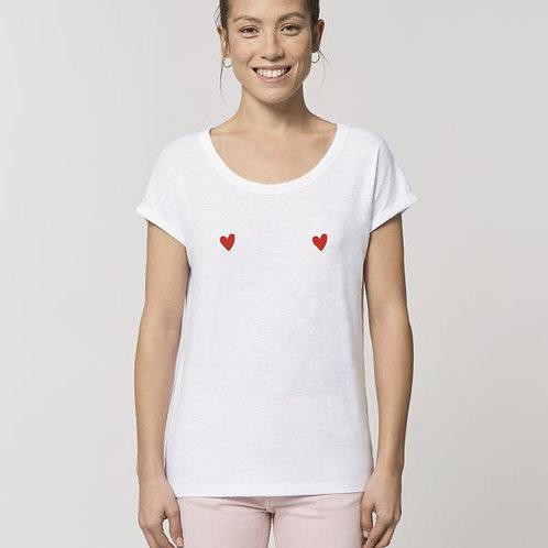 T-shirt femme coton bio manches repliée petits cœurs rouges poitrine