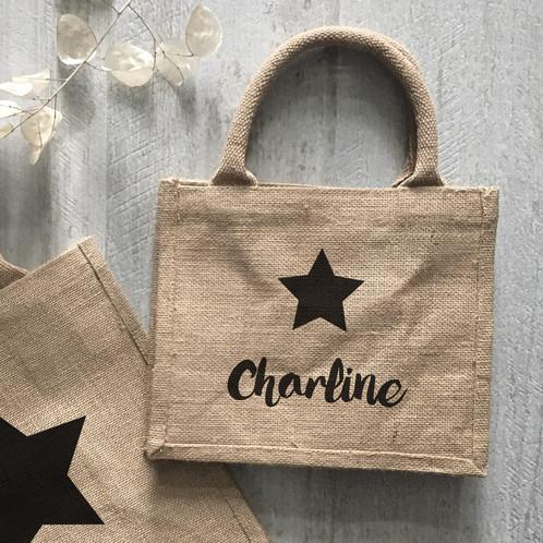 mini sac cabas en toile de jute star personnaliser luz et nina cadeaux personnalis s. Black Bedroom Furniture Sets. Home Design Ideas