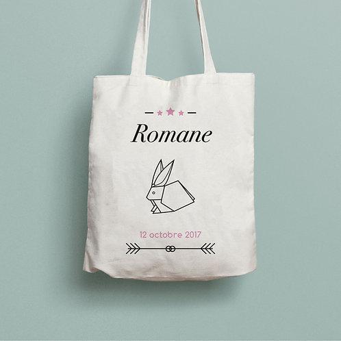 Tote bag  personnalisé, sac personnalisé naissance origami renard