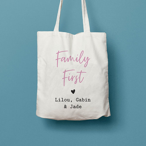 Tote bag personnalisé family first