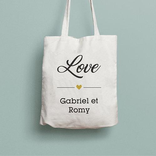 tote bag love, tote bag personnalisé, sac personnalisé, cadeau fête des mères, luz et nina