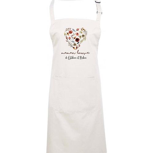 """Tablier de cuisine ADULTE personnalisé """"Cœur en fleurs"""""""