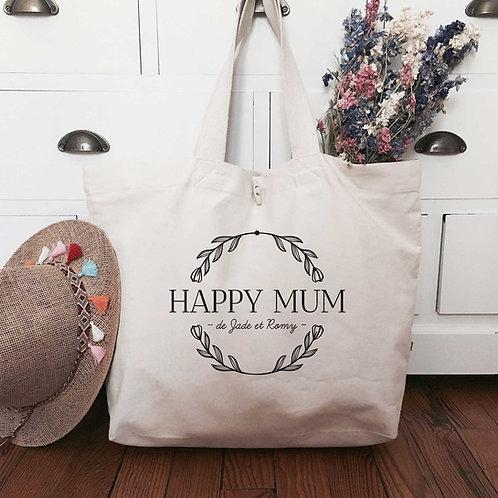 Cabas en coton bio personnalisé happy mum