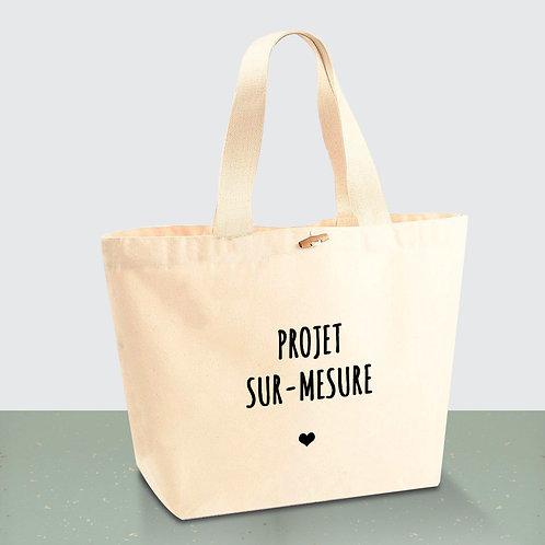 """Tote Bag CABAS 100% Coton BIO """"Sur-mesure"""""""