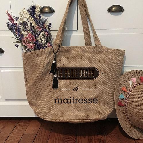 sac toile de jute, le petit bazar, sac maîtresse, cadeau maman, cadeau nounou, sac personnalisé, luz et nina
