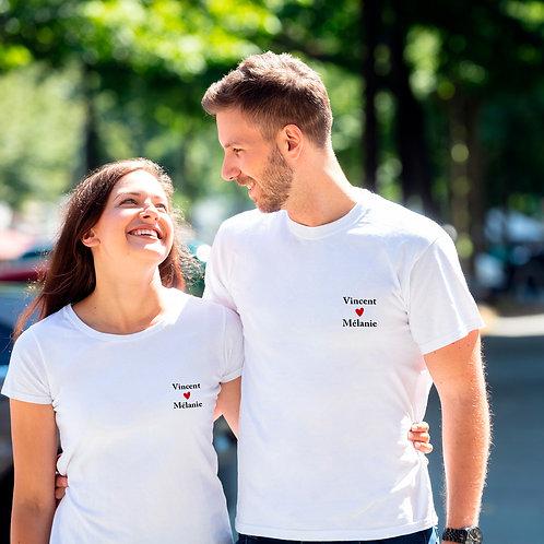T-shirt prénoms cœurs personnalisé cadeau personnalisé saint valentin
