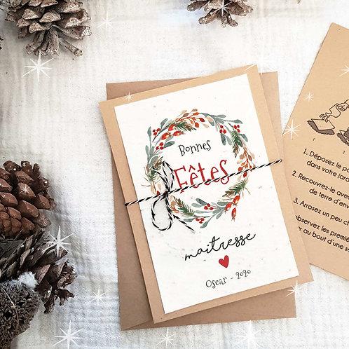 Carte à planter noël personnalisée, carte ensemencée noël personnalisée, carte vœux noël personnalisée