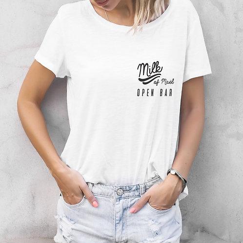T-shirt femme personnalisé Milk open bar allaitement