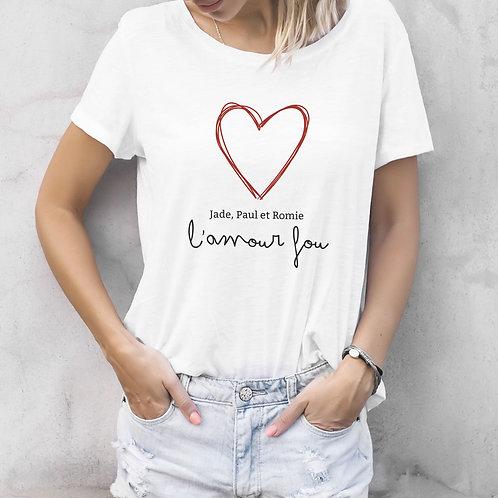 t-shirt personnalisé l'amour fou