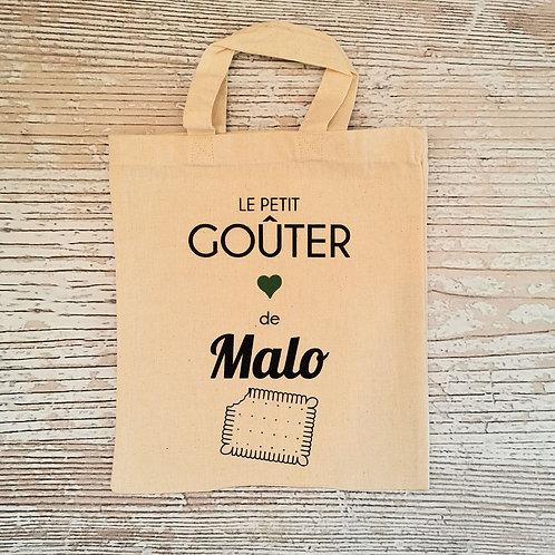 "Mini Tote bag ""Le petit goûter"" personnalisé ""Malo"""