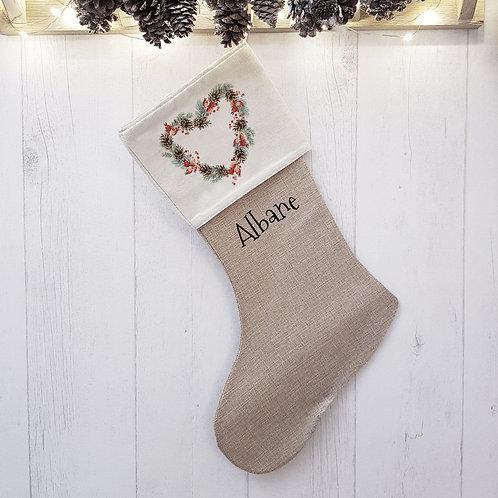"""Chaussette de Noël personnalisée """"Cœur de Noël"""""""