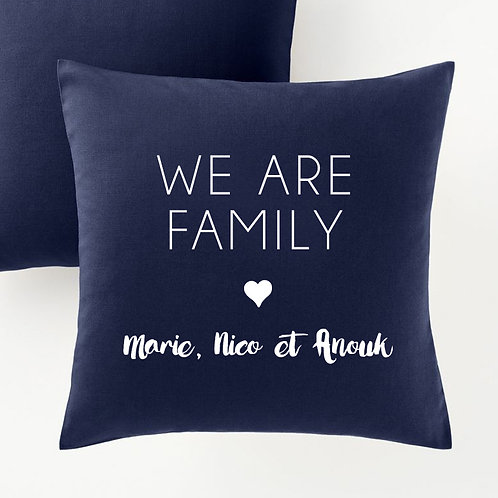 Coussin we are family personnalisé