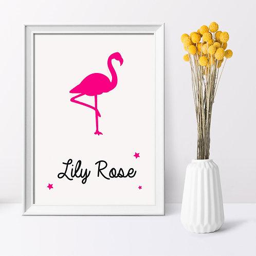 Affiche personnalisée flamand rose - Déco chambre enfant