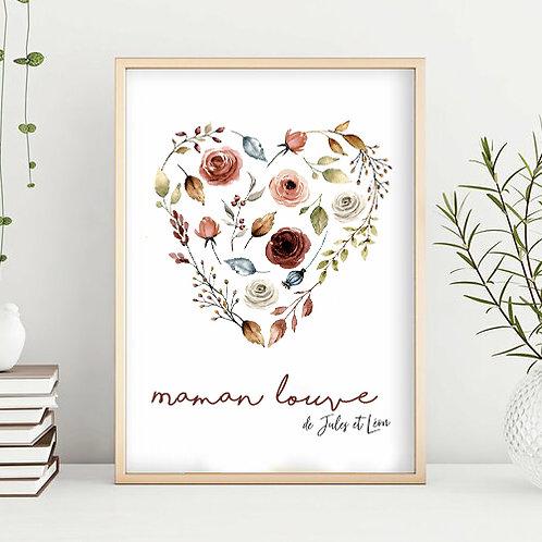 Affiche personnalisée maman coeur en fleurs