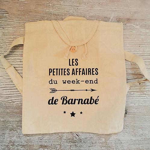 """Sac à dos """"Les petites affaires du week-end"""" personnalisé """"Barnabé"""""""
