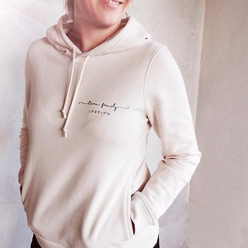 """Sweat-shirt à capuche FEMME en coton BIO """"Team Family"""""""