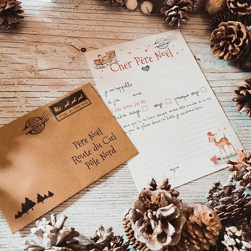 La lettre au Père Noël+ Enveloppe kraft imprimée