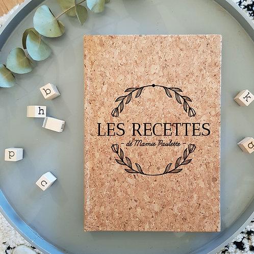 Cahier de recette en liège personnalisé
