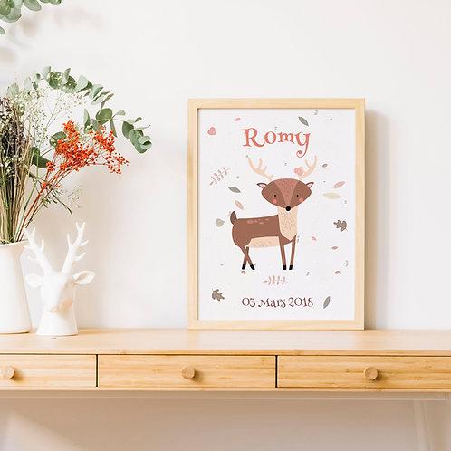 Affiche personnalisé petit cerf pour chambre enfant