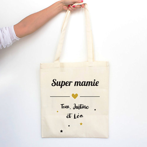 tote bag personnalisé, cadeau fête grand-mères, mamie
