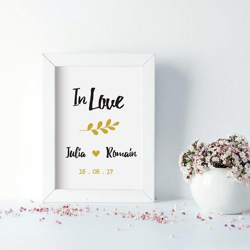 affiche cadre inlove, cadeau saint valentin, amour amoureux