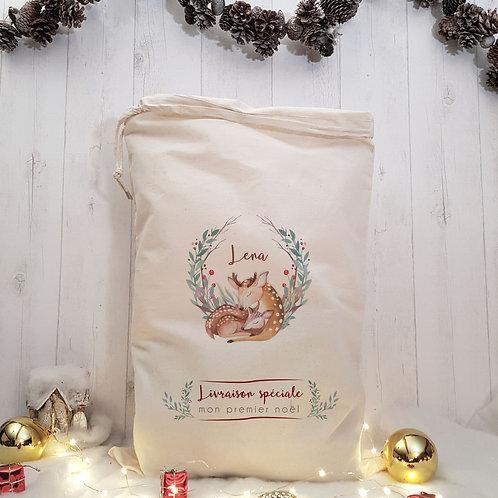 Sac de Noël, hotte du père Noël, baluchon de Noël, sac de Noël personnalisé, Luz et Nina