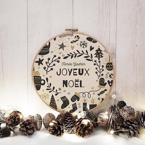 Cadre tambour bois personnalisé, thème Noël, décoration de Noël, Luz et Nina