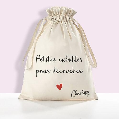 """Pochon en coton BIO """"Petites culottes pour découcher"""""""