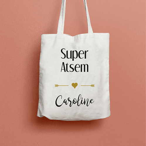 Tote bag personnalisé, sac personnalisé, cadeau nounou, cadeau maîtresse, cadeau atsem, cadeau maman