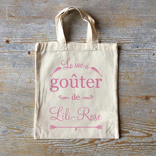 Mini tote bag en coton pour enfant personnalisé, le sac à goûter, Luz et Nina