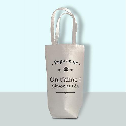 porte bouteille coton personnalisé, cadeau papa, cadeau anniversaire, cadeau noël
