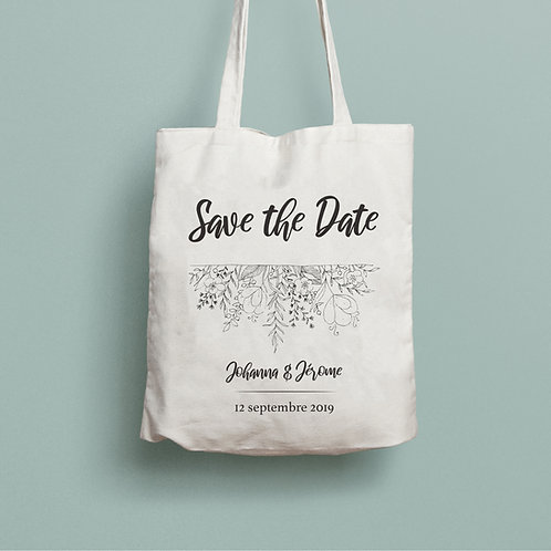 tote bag save the date, tote bag personnalisé mariage